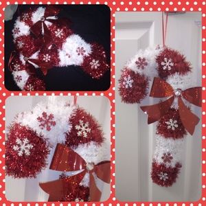 2 Red & White Hanging Candy Canes
